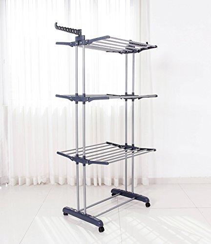 Queen Rose Rail Rack pour Vêtements - 4 niveaux de grande capacité étendoir avec des roues rotatives (Gris)
