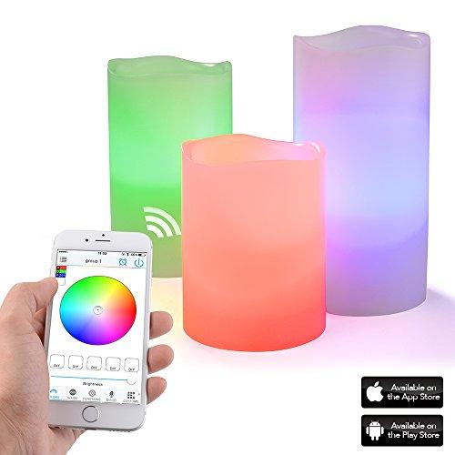 Sunix Virgo Bluetooth inteligente 3 Velas LED Con Luz, Velas decorativas con luz de 10, 13 y 15 cm) Para Fiesta Boda decoración Club Navidad para iOS y Android.