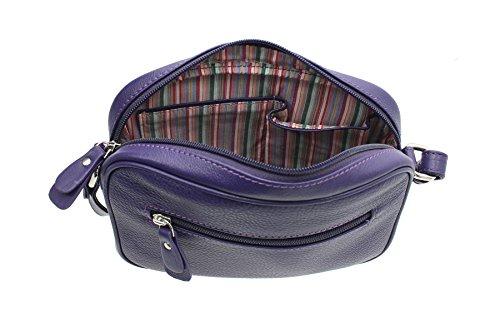 Zaino / Tracolla Mala Leather Collezione AZURE in Morbida Pelle 781_81 Porpora Porpora