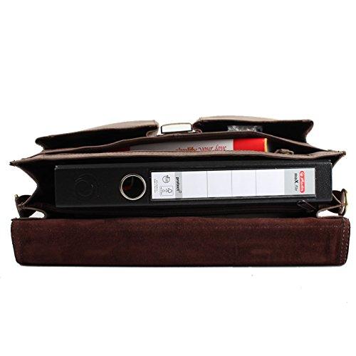 Branco Aktentasche mit Laptopfach - Rindleder Tasche mit großem Platz für Ordner und Laptop (Braun) Braun
