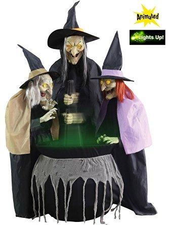 Life Größe 180cm Halloween Böse Hexen Stitchwick Animierte Schwestern Dekorationen mit Sound und