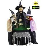 Life Größe 180cm Halloween Böse Hexen Stitchwick Animierte Schwestern Dekorationen mit Sound und Licht