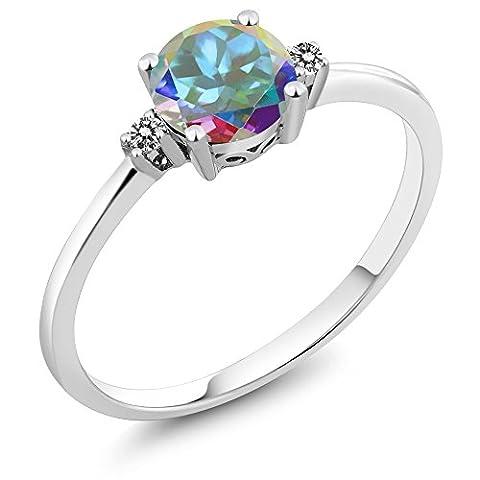 10K White Gold Diamond Accent Ring Round Mercury Mist Mystic Topaz (1.03 cttw)