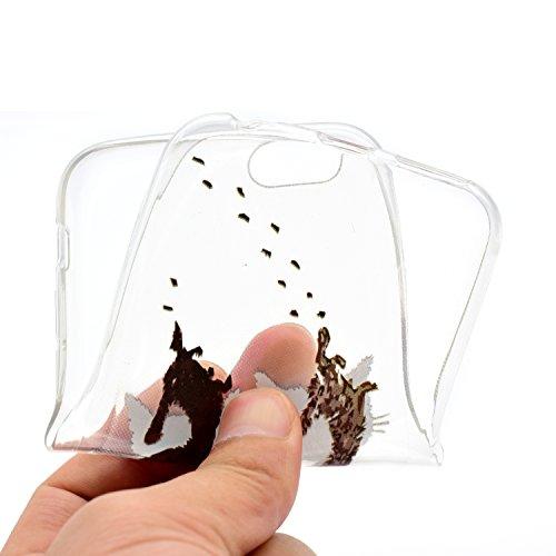 Custodia iphone 6 Plus, Custodia Cover per iphone 6S Plus, Felfy Pantalone Colorato Trasparente Gel TPU con Farfalla e Gatto Design Resistente Shock Absorbente Scratch Resistente Custodia Protettiva C Gattino