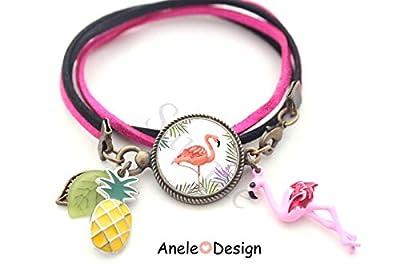 Bracelet flamant rose, ananas, tropical, bracelet rose, flamant rose cabochon, cadeau femme