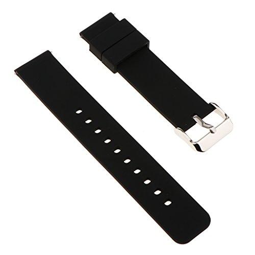 Baoblaze Uhrband Watch Strap Top Silikon 22mm Uhr Armband Watch Band für Herren Damen - Schwarz