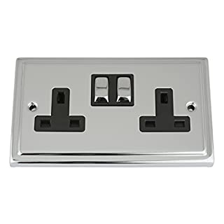 A5 Products Socket 2 Gang - Polished Chrome - Trimline - Black Insert Metal Switch - 13A Double Wall Plug Socket