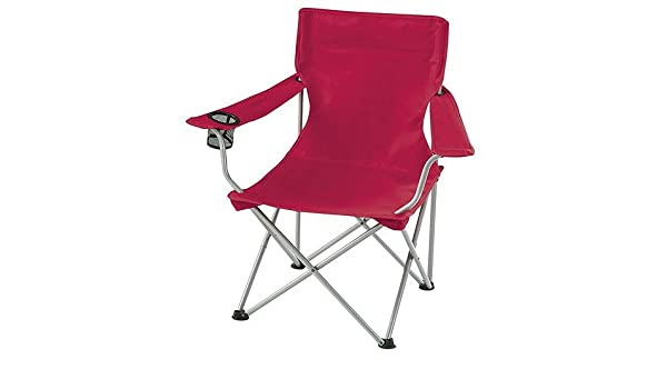 New Ozark Folding Camping Arm Chair with Drink Holder (Red