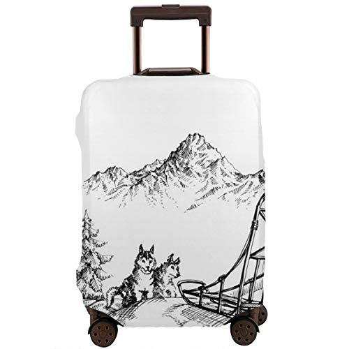 Travel Suitcase Protector,Mountain Landscape In Winter Sledding Dogs Pine Trees Wilderness Art,Suitcase Cover Washable Luggage Cover XL - Cover-pine Trees