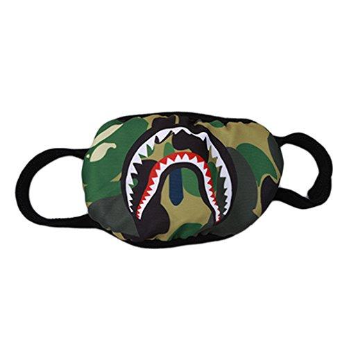 ODN Unisex Cool Mundschutz Maske Haifischmuster Kälteschutz Gesichtsmaske (Tarnung)