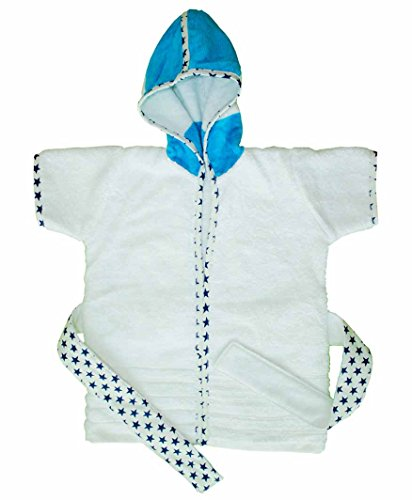 Premium terry Cotton Kids Hooded Poncho Bath Robe Beach Towel for bath swim - Blue Stripes from KADAMbaby (2T)