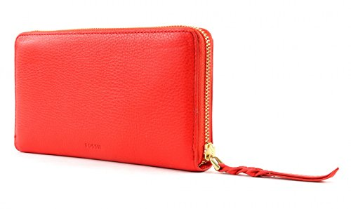FOSSIL Caroline Zip Around Wallet RFID Steel Blue Rosso