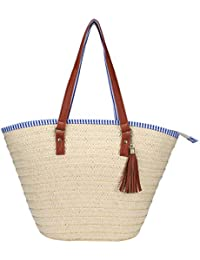 Soonyean Summer Straw Beach Bag Handbags Shoulder Bag Tote, Cotton Lining, Top Leather Handle-Eco Friendly (Off...