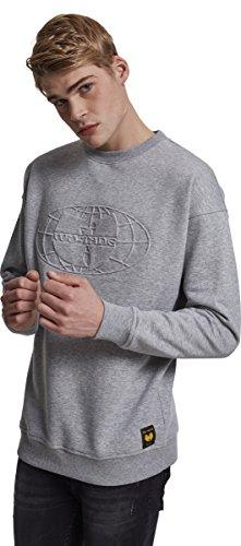 Wu Wear Herren Embossed Crewneck Sweatshirt, Heather Grey, XL City Crewneck Sweatshirts