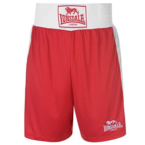 Lonsdale Herren Boxing Shorts Trainingshose Boxen Sporthose Kurze Hose Rot Large