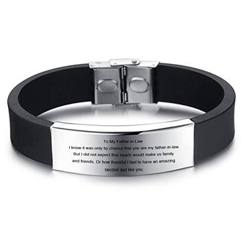 LiFashion LF Edelstahl Silikon Motivation Armband für Schwiegervater,personalisierte maßgeschneiderte Armbänder Schmuck für Vatertagsgeschenk,Geburtstag,Hochzeitsgeschenk für Schwiegervater,Gravur (Bands Wedding 10mm Schwarz Mens)