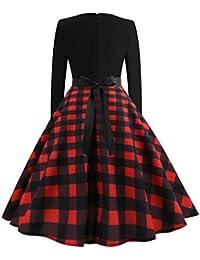 74a004f405e4 Darringls Femmes Vintage Robe AnnéEs 50 Pin Up Vintage rétro 1950 s Audrey  Hepburn Robe de Soirée Cocktail Longue Manches…