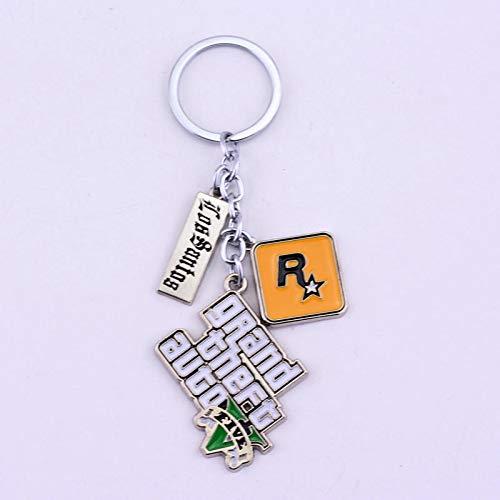 TUDUDU Mode Schmuck Ps4 GTA 5 Keychain Grand Theft Auto V Keyring Auto Anhänger Zubehör
