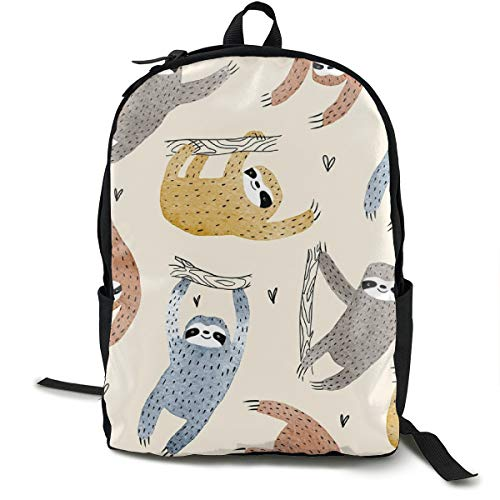 Sloths With Love Small Scale Adult Premium Travel Backpack, Water-Resistant College School Bookbag, Sport Daypack, Outdoor Rucksack, Laptop Bag for Men&Women