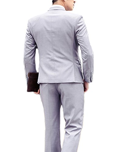 Costume Homme Trois-Pièces Veste Gilet et Patalon Slim Fit Elegant Deux Boutons Bussiness Mariage Gris
