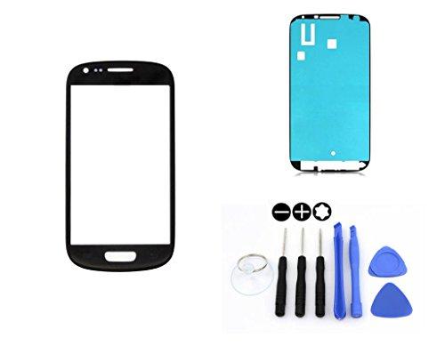R.P.L. FRONTGLAS SET passend für SAMSUNG Galaxy S3 mini Schwarz Black i8190 / Frontglas / Glas / Displayglas / LCD Reparatur / LCD Display / Klebefolie / Glass Replacement / 8 - Teiliges Werkzeugset TOOLS