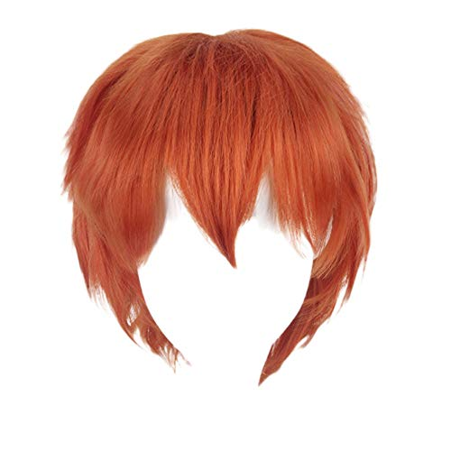 Damen Beauty Multi Color Short Straight Hair Wig Anime Party Cosplay Full Sell Wigs 35cm Frauen Make up Cos Anime Perücke K049-10 orange Mädchen Pflegesets