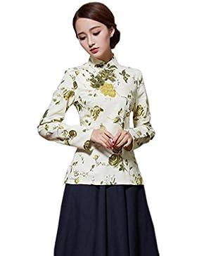 YueLian Mujeres Camiseta de Verano Diaria De Manga Larga Retro Estampado La mejora de Cheongsam Camisetas