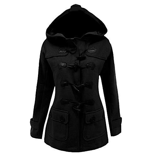 Damen Steampunk Gothic Long Coat UFODB Frauen Mantel Hooded Trenchcoat Hornschnalle Overcoat Sweatshirt Jacke Winterjacke Kapuzenparka Wintermantel