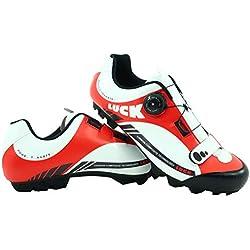LUCK Zapatillas de Ciclismo Pro 0.17 MTB, con Suela de Carbono de 4mm y Cierre rotativo de Alta precisión para una sujeción (46 EU, Rojo)