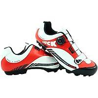 LUCK Zapatillas de Ciclismo Pro 0.17 MTB, con Suela de Carbono de 4mm y Cierre rotativo de Alta precisión para una sujeción (43 EU, Rojo)