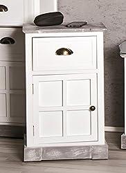 Kommode aus Massivholz in weiß grau - gekälkt mit Schublade; Maße (B/T/H) in cm: 38 x 28 x 60