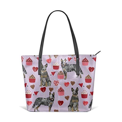 hulili Damen Tasche aus weichem Leder Schultertasche Australian Cattle Dog Blauer Mantel Valentines Love Hearts Hunderasse Lila Mode Handtaschen Umhängetasche Geldbörse Australian Mantel
