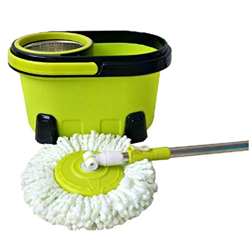 Lm mocio rotante lavapavimenti set - acciao inox 360 ° mocio rotante manico estensibile con due teste in microfibra strizzare facile,green