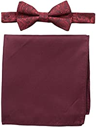 Nick Graham Men's Tonal Paisley Bow Tie with Pocket Square