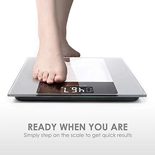 Deik Bilancia Pesapersone Digitale alta Stabilità Piattaforma Vetro Temperato con LCD Schermo Retroilluminato,Tecnologia Step-on, includere metro a nastro e batteria AAA, 5kg-180kg - 3