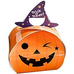 HHMao Halloween 10 Piezas Caja de Dulces Galletas West Point Box Little Ghost Calabaza