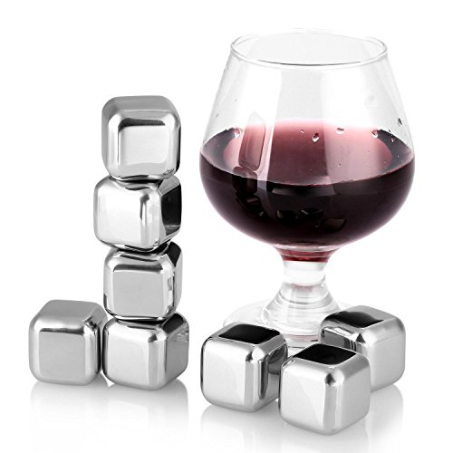 Soledi 8PCS Edelstahl Chilling Wiederverwendbare Ice Cubes Eiswürfel für Whiskey Wein