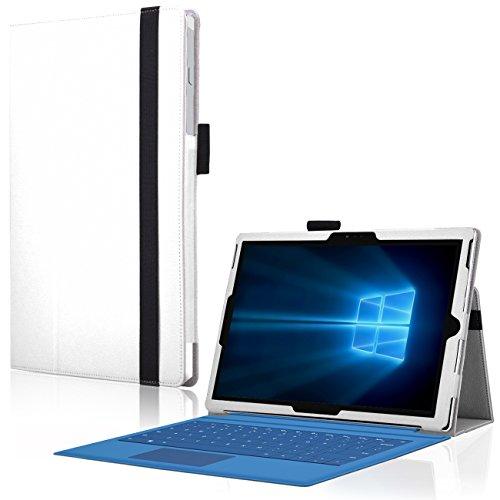 Microsoft Surface Pro 3 Cover Tasche mit praktischer Stand Funktion Case aus robustem Kunstleder kombiniert Schutz und Design für Ihr Microsoft Surface Pro 3 Hülle Case Weiss von UC Express®