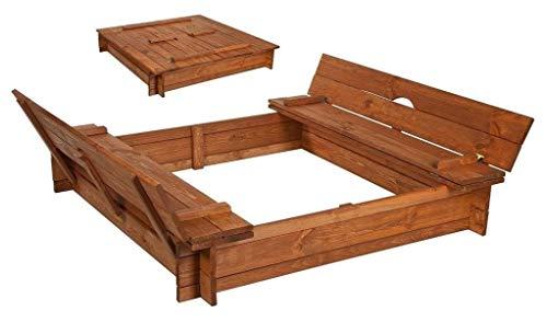 Best-of-JAM® Sandkasten - 140x140 cm - Deckel umbaubar zu Bänken - inkl. Folie gegen Unkraut