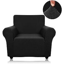 Panovous Jacquard-Plaid Stoff-Sofa Stuhlhusse Spandex Polyester, Möbel, Sofa-Schonbezug, Couch Schonbezug Sofa Schutzfolie, Schwarz, Chair