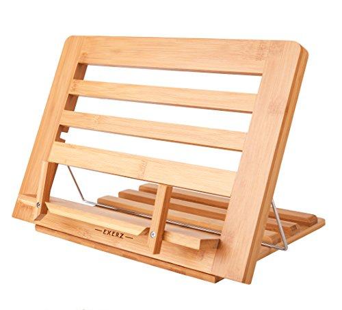 leggio per tablet Exerz Supporti per Libri da Cucina in bambù/Leggio da Riposo per Libri e Ricattari - qualità Premium/Regolabile/Ideale per Libri iPad Tablet - 34 x 24 x 2 cm (bambù)