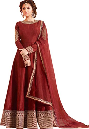 Shopper Pick Red Floor Touch Embroidered Work Wedding and Party Wear Anarkali Salwar Suit Set