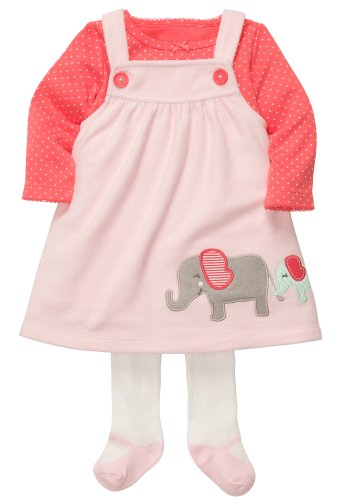 Carter's Kleid Strumpfhose Shirt rosa Elefant Hund türkis Mädchen girl (74/80, rosa) Carters Shirt