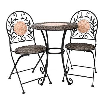 gartentisch 2x stuhl eisen antik stil bistrom bel gartenm bel braun. Black Bedroom Furniture Sets. Home Design Ideas