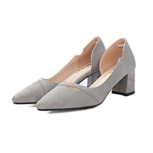AalarDom Damen Nubukleder Mattglasbirne Rein Ziehen Auf Pumps Schuhe Grau-Ausgehöhlt