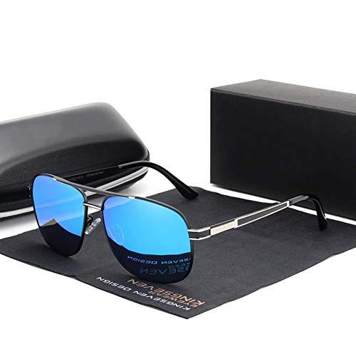Taiyangcheng Männer Frauen Polarisierte Sonnenbrille Square Red Mirror Lens Uv Protection,Silber Blau