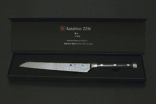 Kubota-messer (KATAHIRO KUBOTA Zen Brotmesser aus 67 Lagen Japanischem Damaststahl mit Kern aus VG-10)