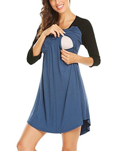 Unibelle Frauen Sleepwear Ärmellos Mutterschaft Krankenpflege Schwanger Stillen Nachthemd Kleid Kobalt Blau XXL