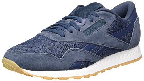 Reebok Herren Classic Nylon HS Sneaker, Blau (Smokyindigo/White-Gum), 45 EU (Leder Athleisure)