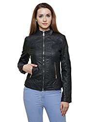 MansiCollections Black Leatherite Jacket for Women